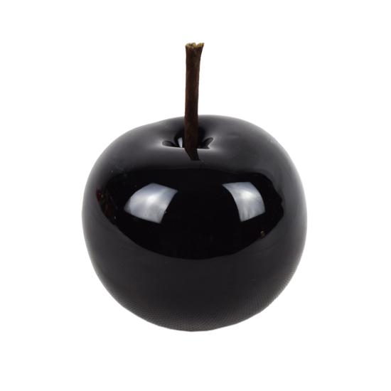 Őszi dekoráció - kerámia alma - fekete - 8 cm